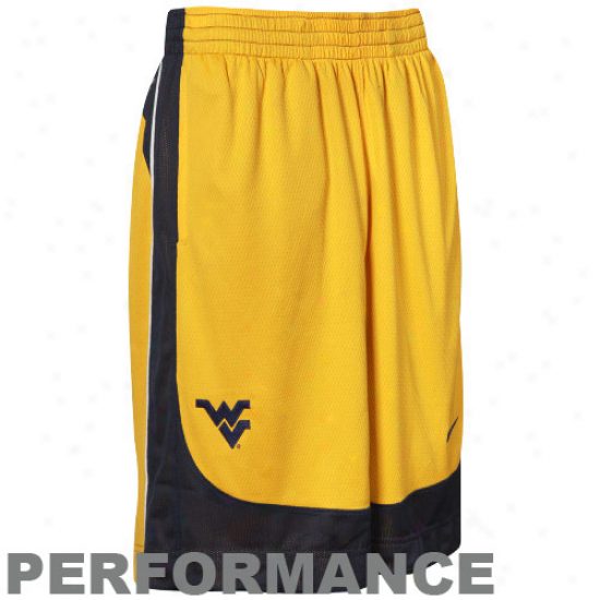 Nike West Virginia Mountaineers Old Gold-navy Blue Reversible Performance Basketball Shirts