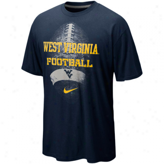 Nike West Virginia Mountaineers Seasonal Football Ii Heathered T-shirt - Nwvy Blue