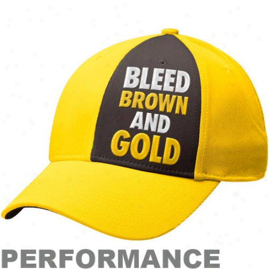Nike Wyoming Cowboys Prairie Gold Bleed Bronw And Gold Legacy 91 Swoosh Performance Flex Hat