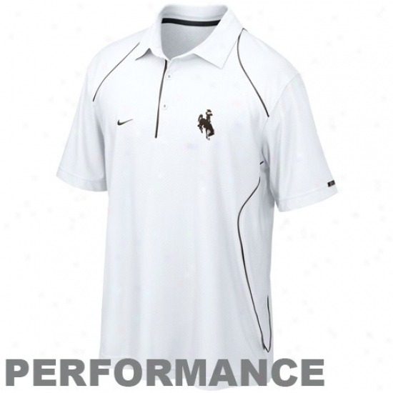 Nike Wyoming Cowboys White Clasp Add to the number Performance Polo