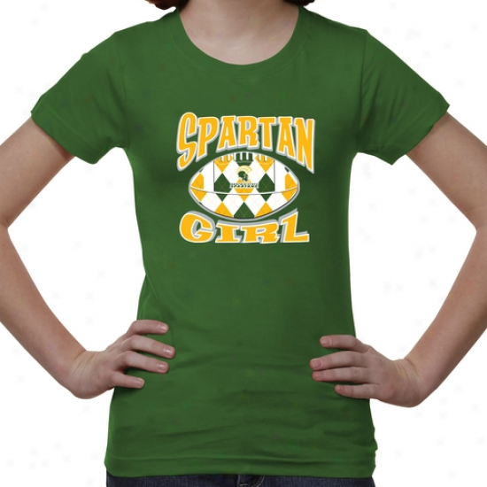 Norfolk State Spartans Youth Argyle Girl T-shirt - Green