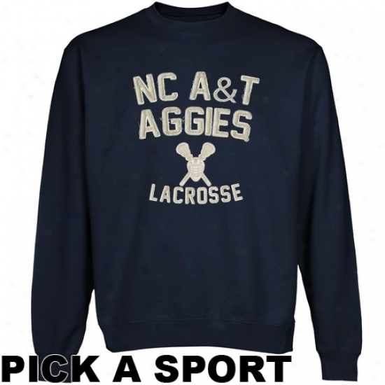 North Carolina A&t Aggies Legacy Crew Neck Fleece Sweatshirt - Navy Blue