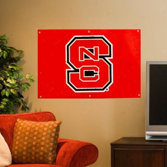 North Carolina State Wolfpack 2' X 3' Red Applique Logo Fan Banner