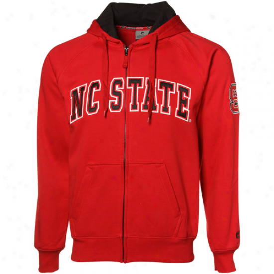 North Carolina State Wolfpack Red Automatic Full Zip Hoody Sweatshirt