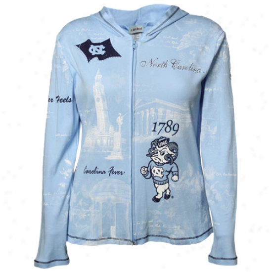 North Carolina Tar Heels (unc) Ladies Carolina Blue Rhinestone School Spirit Full Zip Hoody