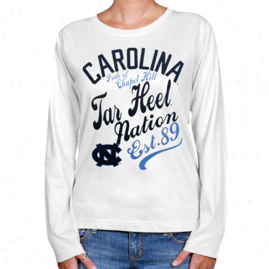Northerly Caroina Tar Heels (unc) Ladies Splashy Long Sleeve T-shirt - White