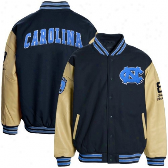 North Carolina Tar Heels (unc) Navy Blue-tan Varsity Wool & Leather Letterman Jacket