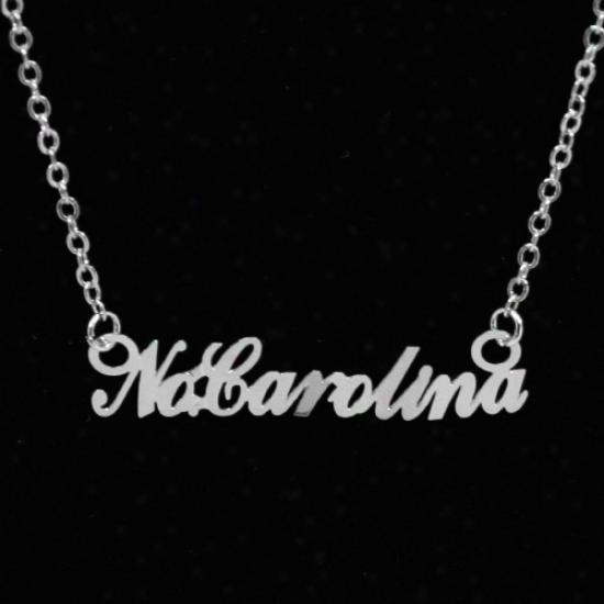 North Carolina Tar Heels (unc) Silver Script Necklace