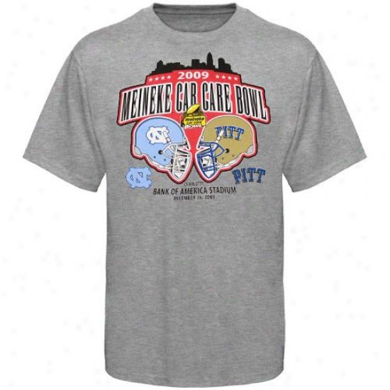 North Carolina Tar Heels Vs. Pitt Panthers Youth Ash 2010 Meineke Car Care Bowl Leap Dueling Helmets T-shirt