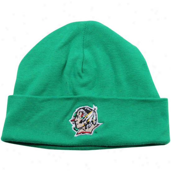 North Dakota Fighting Sioux Infant Green Solid Ski-knit Beanie