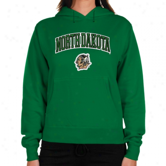 North Dakota Fighting Sioux Ladies Logo Arch Applique Midweight Pullover Hoodie - Green