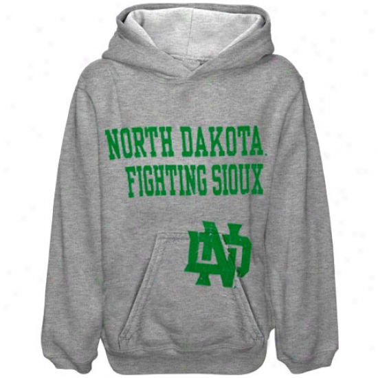 North Dakota Fighting Sioux Youth Ash Stacked Hoody Sweatshirt
