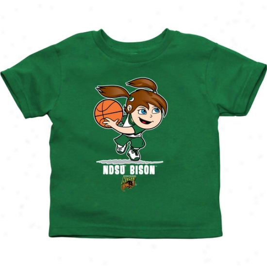 North Dakota State Bison Toddler Girls Basketball T-shirt - Green