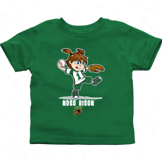 North Dakota Stafe Bison Todrler Girls Softball T-shirt - Green