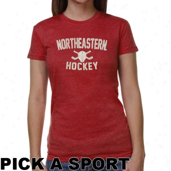 Northeastern Huskies Ladies Bequest Junior's Tri-blend T-shirt - Red