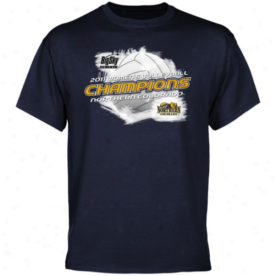 Northern Colorado Bears 2011 Big Sky Women's Volleyball Champions T-shirt - Navy Blue