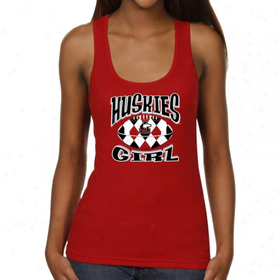 Northern Illinois Huskies Ladies Argyle Girl Junior's Ribbed Tank Top - Cardinal