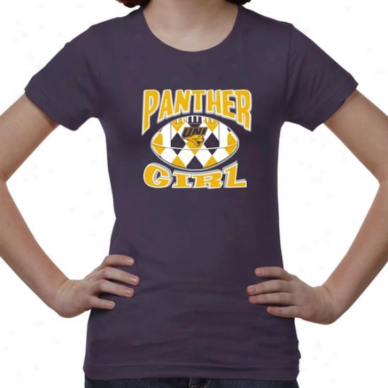 Northern Iowa Panthers Youth Argyle Girl T-shirt - Purple