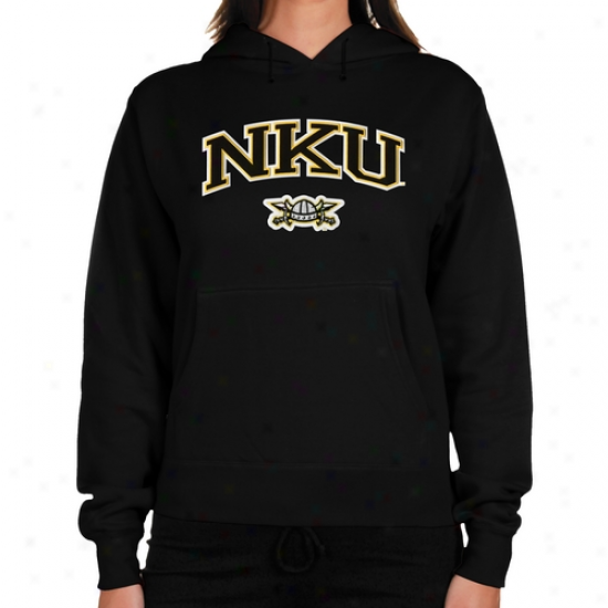 Northern Kentucky University Norse Ladies Logo Arch Applique Midweight Pullover Hooie - Black