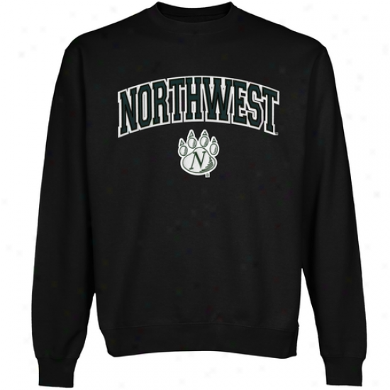 Northwest Missouri State Bearcats Logo Arch Applique Crew Neck Fleece Sweatshirt - Black