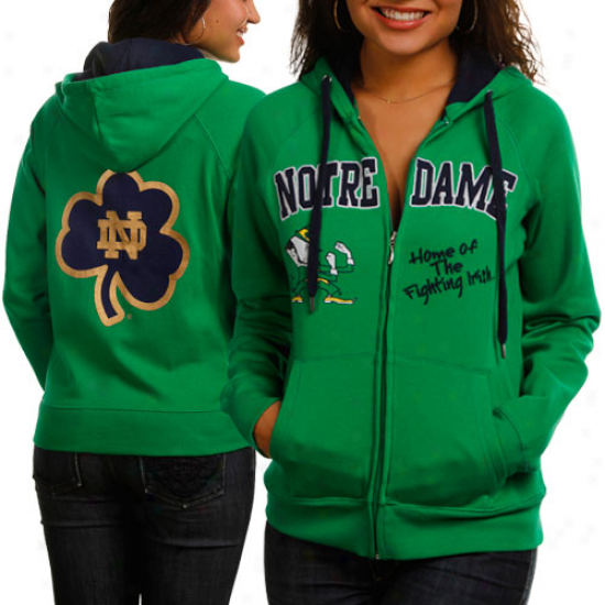 Notre Dame Fighting Irish Ladies Greeb Track Meet Full Zip Hoodie Sweatshirt