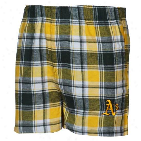 Oakland Athletics Green-gold Plaid Legend Flannel Boxer Shorts