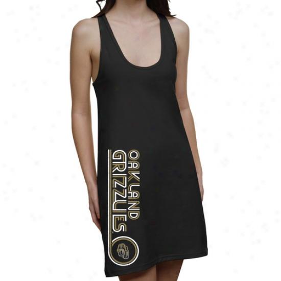 Oakland Excellent Grizzlies Ladies Retro Junior's Racerback Dress - Black