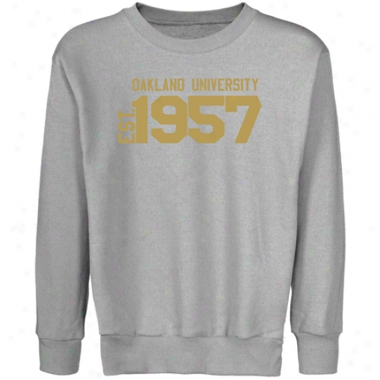 Oakland Golden Grizzlies Youth Steel Est. Date Crew Neck Fleece Sweatshirt
