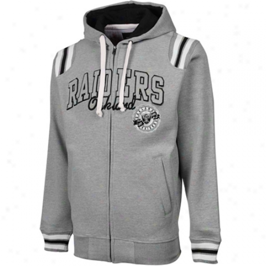 Oakland Raiderss Ash Knockout Full Zip Hoodie Sweatshir5