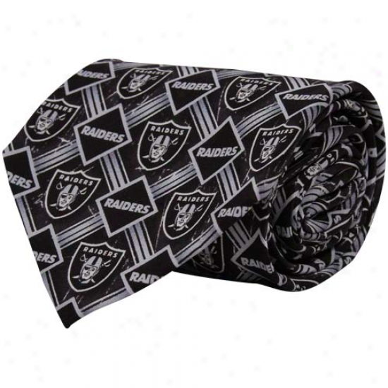 Oakland Raiders Murky Diamond Print Silk Tie