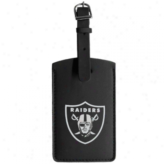 Oakland Raiders Colored Logo Leather Luggage Tag
