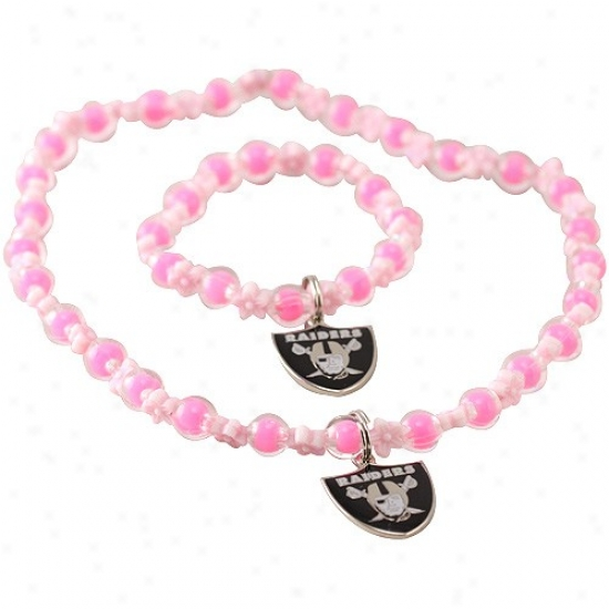Oakland Raiders Girls Pink Sophie Beaded Team Logo Bracelet & Neckllace Set