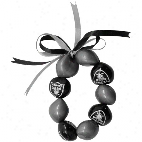 Oakland Raiders Ladies Black-silver Kukui Beaded Bracelet