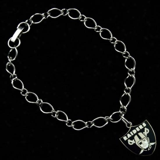 Oakland Raiders Ladies Silver-tone Charm Bracelet