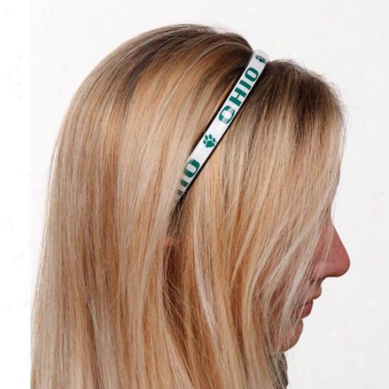 Ohio Bobcats Ladies White Domed Headband