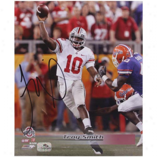 Ohio State Buckeyes #10 Troy Smith Autographed 8'' X 10'' Portrait Pohtographh
