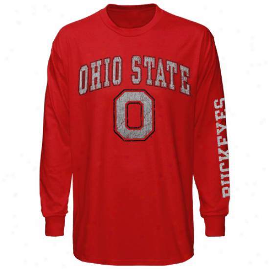 Ohio State Buckeyes Big Arch & Logo Long Sleeve T-shirt - Scarlet