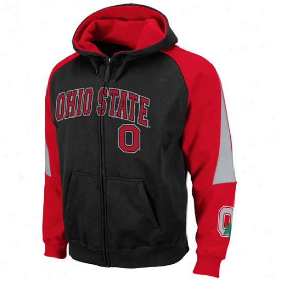 Ohio State Buckeyes Black-scarlet Playmaker Full Zip Hoodie Sweatshirt