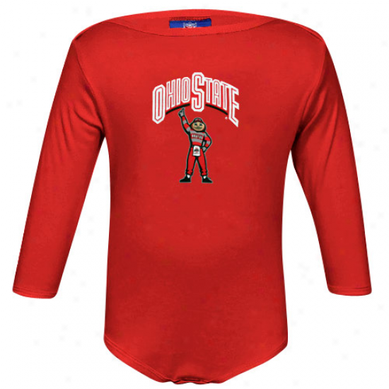 Ohio State Buckeyess Infant Scarlet Mascot Long Sleeve Creeper