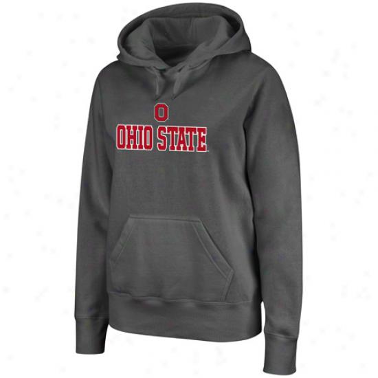 OhioS tate Buckeyes Ladies Charcoal Deep Impact Pullover Hoodie Sweatshirt