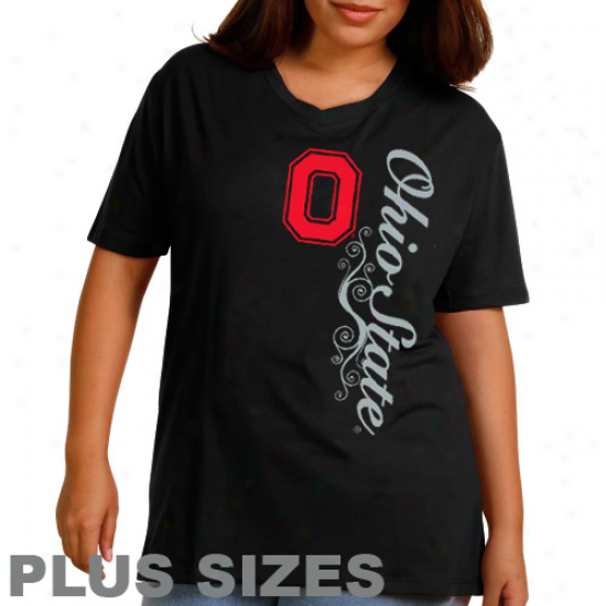 Ohio State Buckeyes Ladies Dolly Glitter Plus Sizes T-shirt - Black