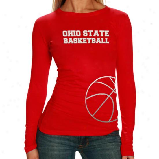 Ohio State Buckeyes Ladies Metallic Basketball Premium Long Sleeve T-shirt - Scarlet