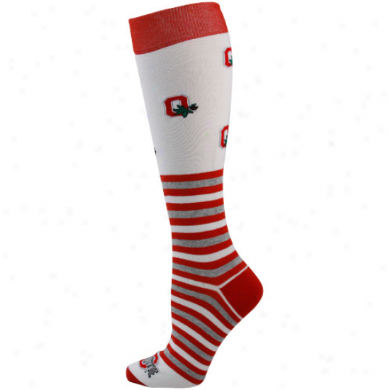 Ohio State Buckeyes Ladies Whife Striped Logo Knee Socks