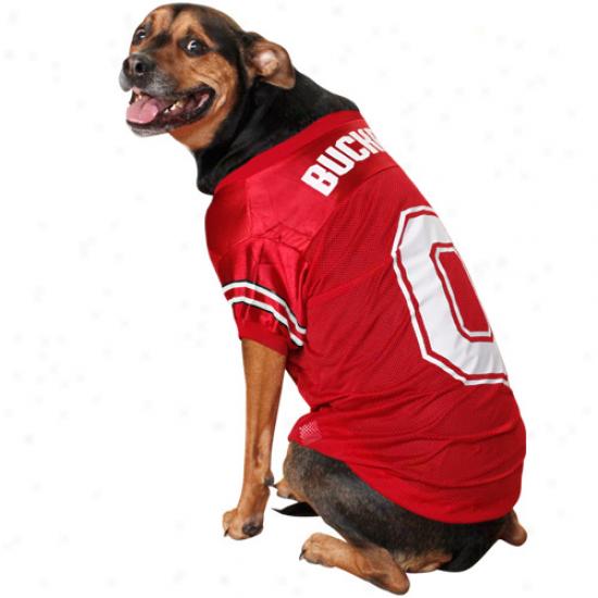 Ohio Stste Buckeyes Scarlet Mesh Dog Jersey