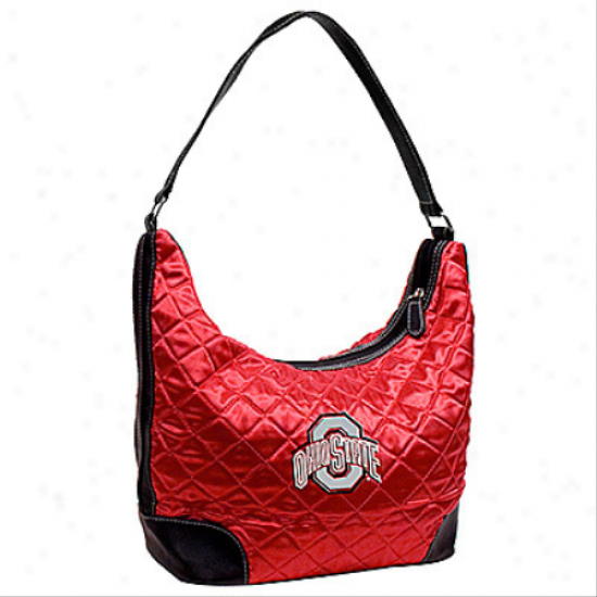 Ohio State Buckeyes Scarlet Quilted Hobo Purse