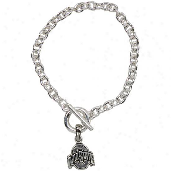 Ohio State Buckeyes Silvertone Chain Logo Bracelet