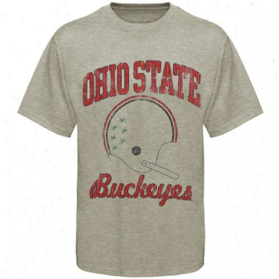 Ohio State Buckeyes Stone Grande Football Super-soft Vintage T-shirt