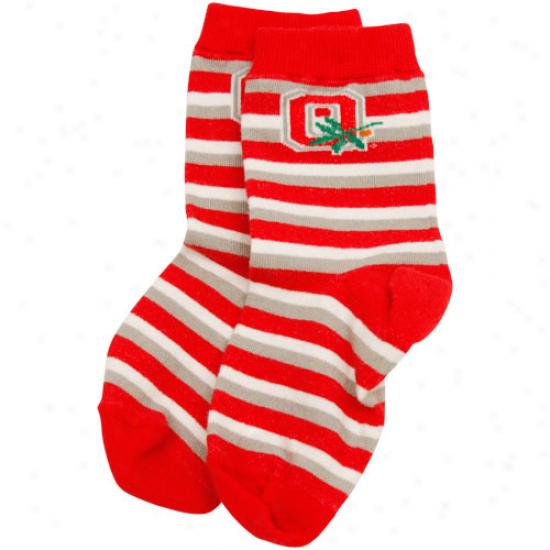 Ohio State Buckeyes Toddler Scarlet-silver Sport Stripe Socks