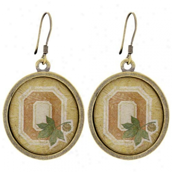 Ohio State Buckeyes Vintage Antique Brass Earrings