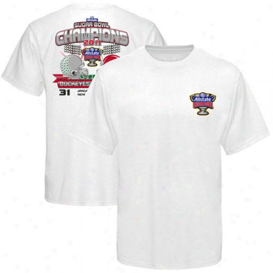 Ohio State Buckkeyes White 2011 Sugar Hollow Champions Lights Score T-shirt